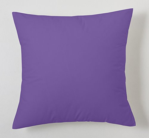 ESTELA - Funda de cojín Combi Lisos Color Lila - Medidas 40x40 cm. - 50% Algodón-50% Poliéster - 144 Hilos
