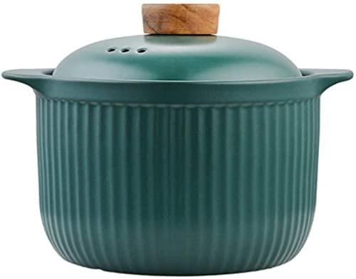 aedouqhr Olla de Sopa Olla de Barro Cazuela Cacerola de cerámica Olla de Sopa Olla de Cocina Resistente a Altas temperaturas para Estufa de Gas Olla de Sopa Sartén (Capacidad: Verde pequeña)