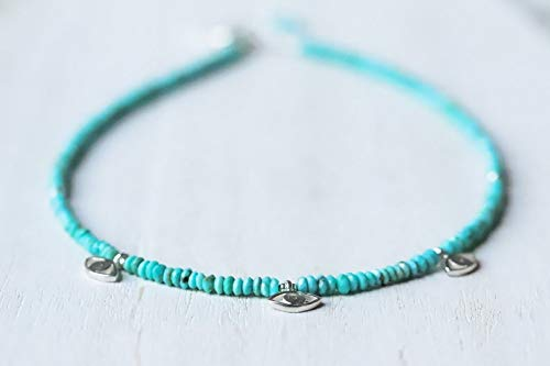 LOVE KUSH JEWELRY Genuine Turquoise beaded necklace | Natural authentic turquoise | women's turquoise jewelry | Arizona turquoise necklace