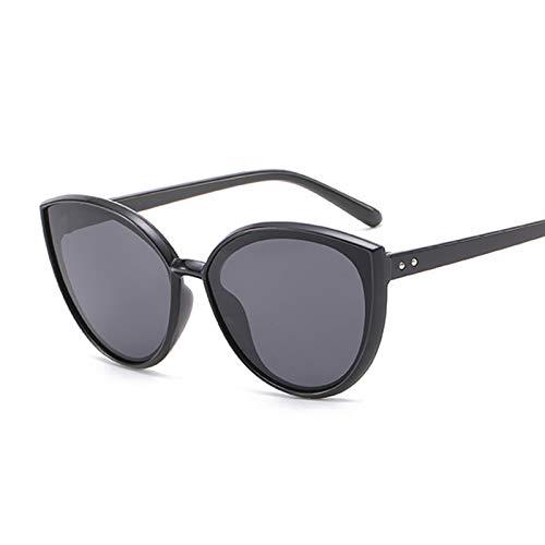 YSJJLRV Lentes de Sol Rosa Vintage Gato Ojo Gafas de Sol Mujeres Moda cateye Espejo Gafas de Sol Femenino diseñador de Marca clásico gradiente (Lenses Color : Black Gray)