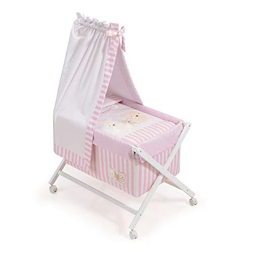 Interbaby Love - Minicuna de madera + textil + dosel, color blanco/rosa
