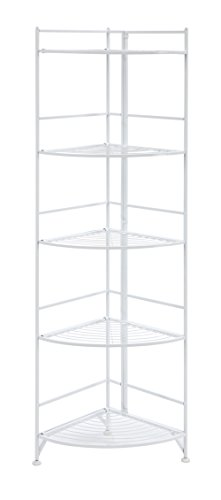 Convenience Concepts Xtra Storage 5 Tier Folding Metal Corner Shelf, White