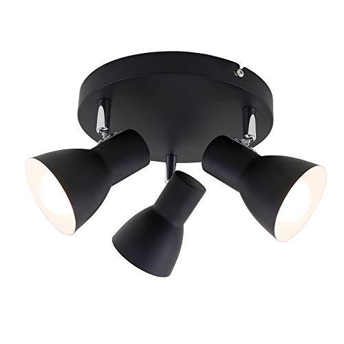 Briloner Leuchten - Deckenleuchte, Deckenspot, Strahler Dreh- und schwenkbar, 3x E14, max. 25 Watt, Retro, Schwarz, 210x140mm (DxH)