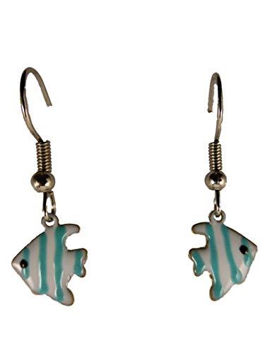 Ohrringe Hänger Ohrhänger Fisch Meer Aquarium Skalar weiß/blau Haustier Tier 13.592