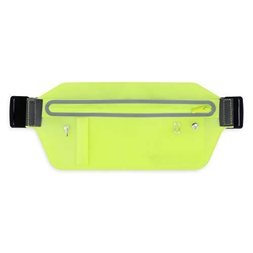 Marsupio sportivo da jogging da donna e da uomo, cintura elastica per tutti gli smartphone con scomparto per chiavi, jack per cuffie e chiusura a incastro