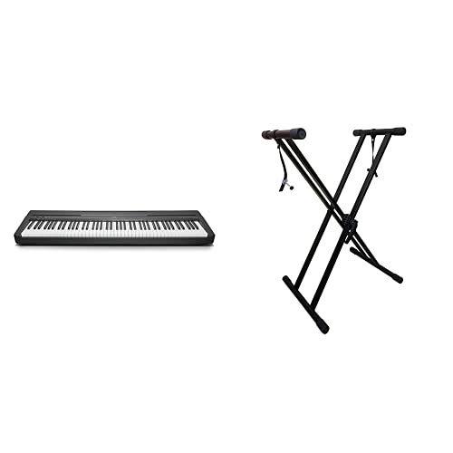 Yamaha Digital Piano P-45B, schwarz – Elektronisches Klavier für Einsteiger für authentisches Klavierspielen & RockJam xfinity doppelstrebiger pre hochparametrierbares Keyboard-Ständer