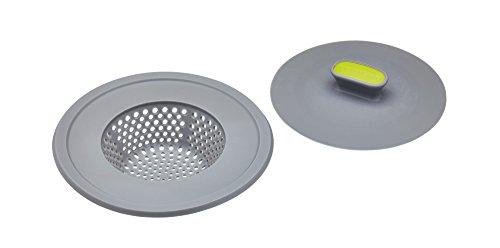 KitchenCraft 2-in-1 kunststof plug en wastafel zeef, 11,5 cm (4.5
