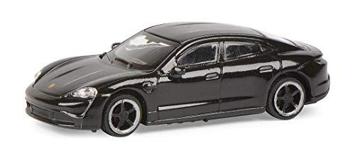 Schuco 452655900 Porsche Taycan, Turbo S, Modellauto, Maßstab 1:87, schwarz-metallic