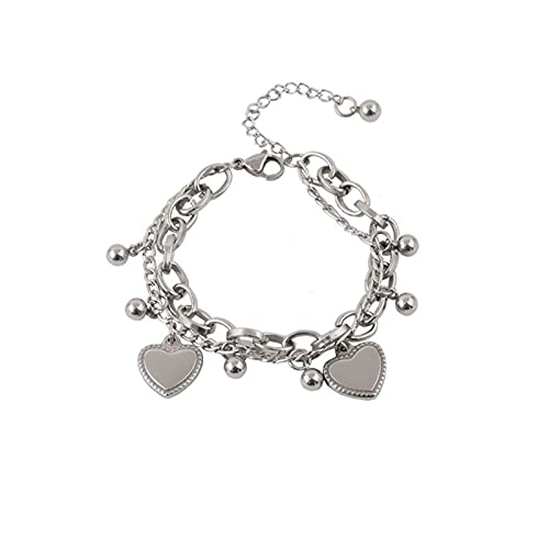 Pulsera Mujer Hip Hop Cool Double Linked Chain Cadena Color Silver Color Metal Beads Charm Street Style Jewelry