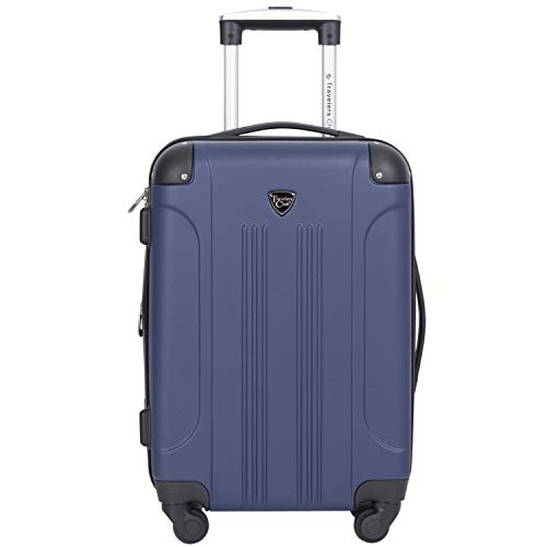 Travelers Club Chicago Hardside Expandable Spinner Luggage, Blue, Carry-On 20-Inch