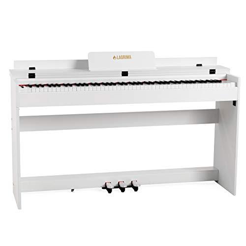 LAGRIMA M-309 Digital Piano Elektronisches Klavier 88 Tasten mit 3 Pedale Adapter & USB/MIDI Minimalismus Weiß