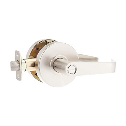 AmazonCommercial Grade 2 Commercial Duty Door Lever-Privacy Lockset, Satin Nickel Finish, 4-Pack