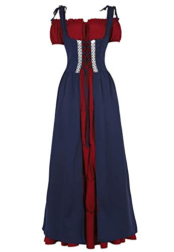 Josamogre Renaissance Mittelalter Kleid Sommerkleid Kurzarm Damen mit trompetenärmel Party kostüm Vintage Retro Costume Cosplay bodenlang Rot Blau L