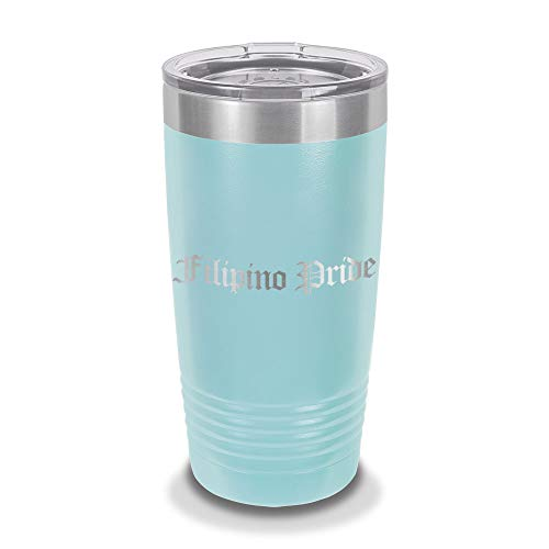 Custom Filipino Pride 20 oz Laser Engraved Polar Camel Stainless Steel Vacuum Insulated Tumbler w/Clear Lid phillippines - Customizable - Light Blue