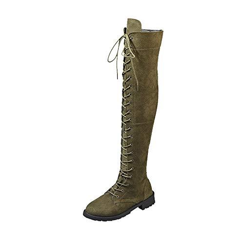 Yowablo Damen Warm Schlupfstiefel Langschaft Stiefel Stiefeletten Stretch Slim Schnürstiefel Overknee High Heels Schuhe (38 EU,Armeegrün)