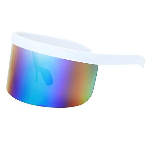 Amuzocity Mujeres Hombres Gafas de Sol con Protección de Gran Tamaño Marco Grande Espejo Visera Gafas Sombras - Verde