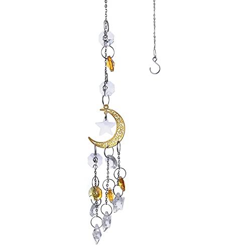 Atrapasoles de Cristal CNNIK Suncatcher con Estrellas Luna Colgante de Bola de Cristal Cristal Colgante de Ventana para Feng Shui Hogar Oficina Jardín Ventana Bodas y Fiestas