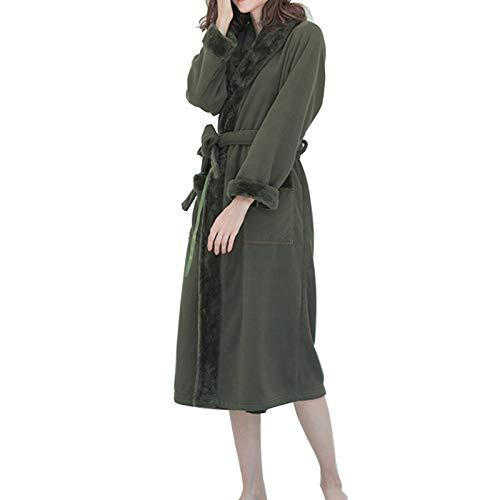 HAOXIANG Bata De Baño Cálida De Invierno para Mujer, Bata De Doble Capa Espesa De Terciopelo Ártico Compuesto, Bata De Mujer con Cinturón De Bolsillos con Cuello En V Casa,Verde,XL