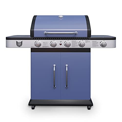 Gasgrill BBQ Chief Ocean 4+1 - Grillwagen in der Farbe Blau - attraktives Design - 4 Edelstahl-Brenner, 1 Seitenbrenner und Gusseisen Grillrost