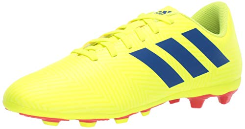 adidas Unisex-Kid's Nemeziz 18.4 FxG J, Solar Yellow/Football Blue/Active red, 4 M US Big Kid