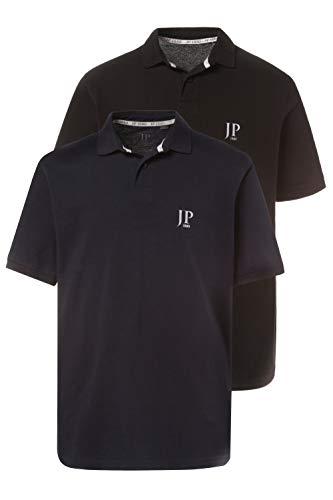 JP 1880 Homme Grandes Tailles Polo Manches Courtes en Coton, Lot de 2 Noir, Bleu Marine 6XL 704317 10-6XL