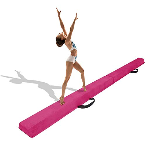 uyoyous Balance Beam 9FT Foldable Floor Gymnastics Equipment Beam for Kids at Home Use with Non Slip Rubber Base and Suede Top, Best Gift for Your Daughter