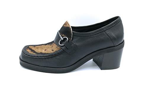MAT 20 5001west Herrenschuh aus schwarzem Leder - Pferd mit Schnalle Absatz 5 cm - Schuhgröße 37 Farbe Schwarz
