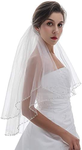 2T 2 Tier Silver Pearl Crystal Beaded Veil Ivory Fingertip Length 36 V485 product image
