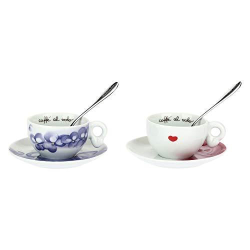 THUN 2er Set Espressotassen Amore-Porzellan mit 2 Edelstahllöffeln - 100 ml-Ø 5,5 cm, bunt