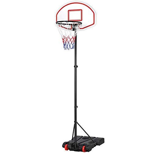 Yaheetech Basketballständer Basketballkorb mit Rollen Höhenverstellbar 159-214 cm Basketballanlage Outdoor Tragbar Korbanlage