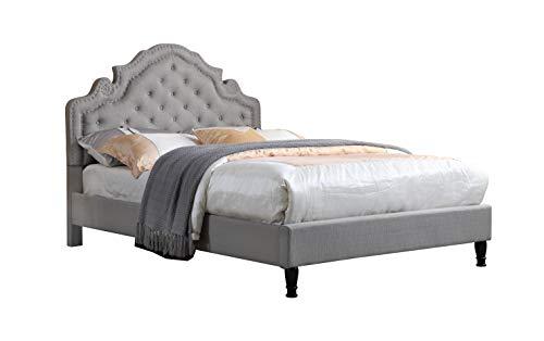 LIFE Home furBed00023_Cloth_LightGrey 0023 Grey Full Size Bed, Light