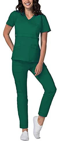 Adar Active Classic Scrub Set for Women - Crossover Top and Multi Pocket Pants - 3500 - Hunter Green - M