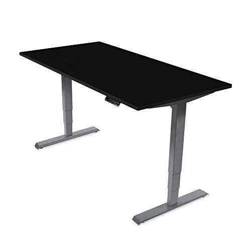 Ergotopia® Elektrisch höhenverstellbarer Schreibtisch | 5 Jahre Garantie | Ergonomischer Steh-Sitz Tisch mit Memory Funktion | Beugt Rückenschmerzen vor & Macht produktiver (160x80, Schwarz, G)