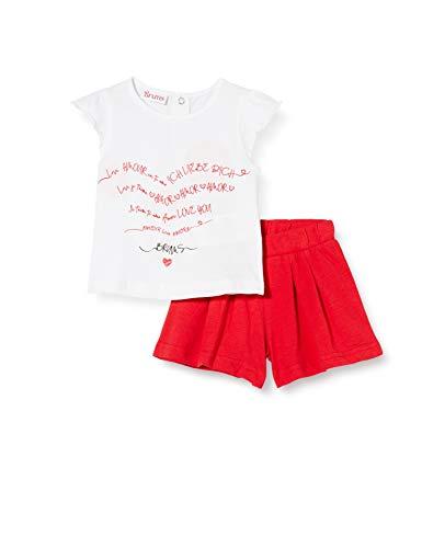 Brums Baby-Mädchen Compl.2 Pz: T-Shirt + Shorts Jersey Bekleidungsset, Mehrfarbig (Bianco/Rosso 01 915), 86 (Herstellergröße: 18M)
