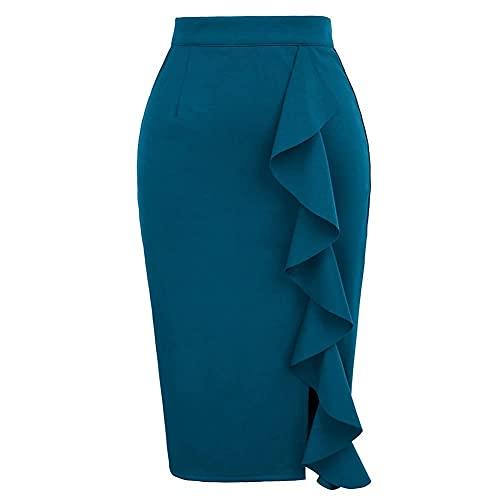 GRACE KARIN Falda de Cintura Alta para Mujer Falda a Media Pierna ceñida al Cuerpo Azul Falda de Oficina M