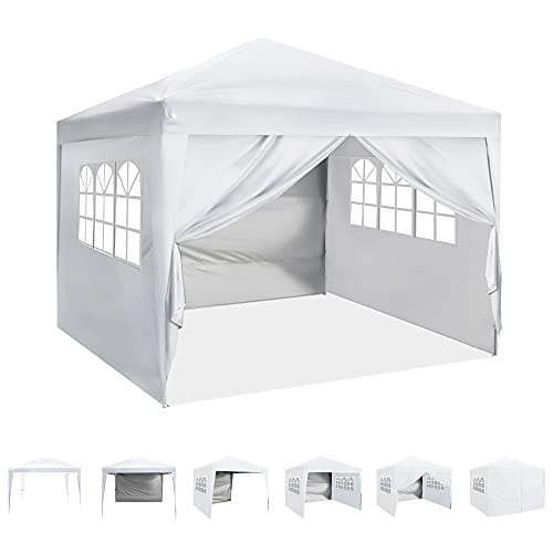 ASTEROUTDOOR 10'x10' Pop Up Canopy with Sidewalls, Adjustable Leg Heights, Windows, Wheeled Carry Bag, Stakes and Ropes, White