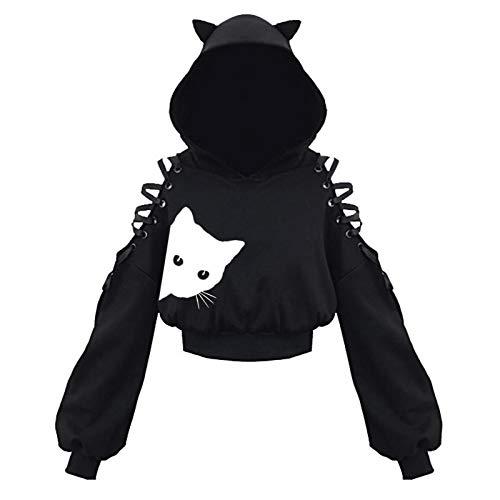 Damen Cat Ears Black Hoodie Langarm Kapuzenpullover Sweatshirt Hollow Out Gothic Tops Bluse Mit Motiv