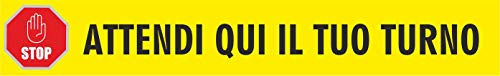 Adesivi calpestabili distanza di sicurezza scritta - attendi qui il tuo turno - segnaletica adesiva lineare per terra cf 1 pezzo 100 x 15 cm giallo cartelli stikers emergenza