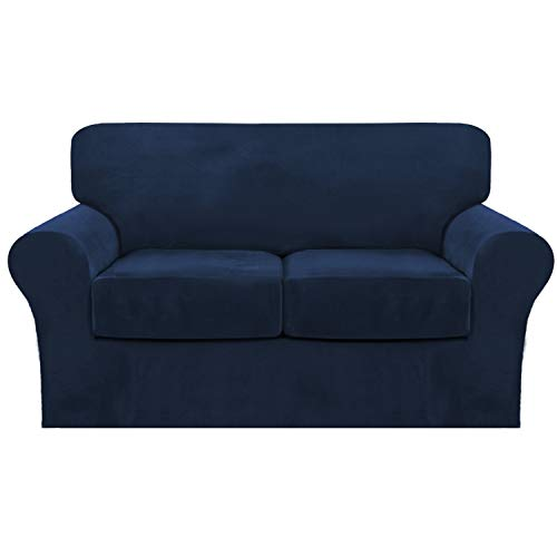 FantasDecor 3 Piece Sofa Cover Stretch Luxury Thick Velvet Loveseat Slipcover Cover with 2 Separate Seat Cushion Covers | Couch Cover Loveseat for Living Room, Secure with Straps (Loveseat,Navy)