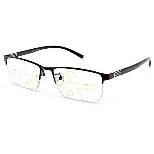 Progressieve Multifocale Nadruk Leesbril Mannen Anti Blauw Licht Blokkerende Lenzen En Metalen TR90 Halfchassis Vergrootglas Brillen,Brown,+1.50