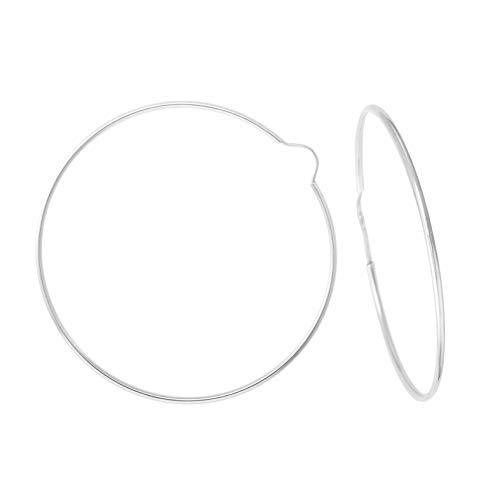 Pendientes redondos lisos flexibles de oro blanco (375/1000) 50 mm