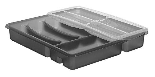 Rotho Basic Besteckkasten 6 Fächer, Kunststoff (BPA-frei), anthrazit, (39 x 32 x 7 cm)