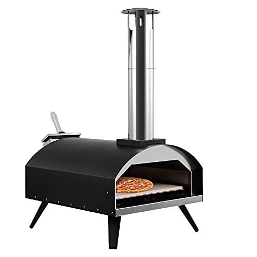 Horno de Pizza Al Aire libre, Piedra para Pizza de 33cm, Cáscara de Pizza de 30cm, Horno Pizza de Acero Inoxidable, Estufas de Leña con Horno para Exterior