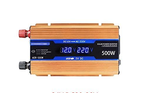 QTWW Inversor para automóvil de 500W / 1200W / 1600W / 2200W, Inversor de energía, Inversor de energía Solar para automóvil, Tablero de Alto Rendimiento, LCD Inteligente, Interruptor de Encendido