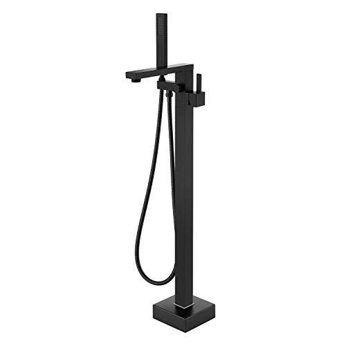 Wowkk Freestanding Bathtub Faucet Tub Filler Black Floor Mount Bathroom Faucets Brass Single Handle with Hand Shower