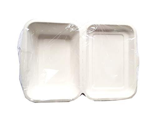 CROWN - 50 recipientes de 600 ml para llevar, 1 compartimento de almacenamiento biológico 100{b22d87f80a080ae56de630387e00db9bf63b6a5bfeb3e56ec9025f3a104bbc68} compostable Umido Take Away 19 x 13,5 x 6,5 cm