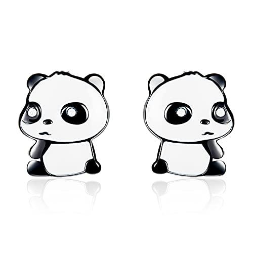 HMMJ Pendientes de botón para Mujer, hipoalergénicos S925 Silver Drip Black Gold Panda Piercings Joyas BSE252