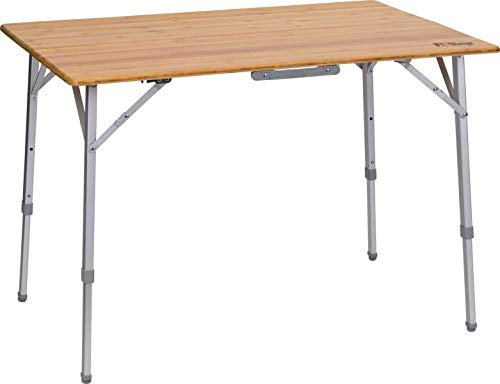 Berger Falttisch Carry Deluxe 100 x 72 cm Bambusplatte Höhenverstellbar Campingtisch