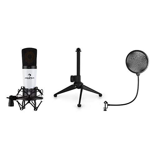 auna MIC-920 – Lote de micrófono USB V2, 3 Piezas: Micro de condensación, trípode y protección Pop, micrófono cardioide, Bolsa, Plug & Play para Windows y Mac, Blanco