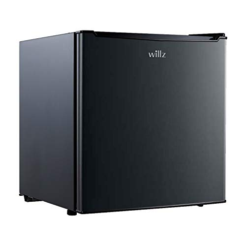 Willz WLR17BK Compact Refrigerator, 1.7 Cu.Ft Single Door Fridge, Adjustable Mechanical Thermostat with Chiller, 1 Coated Wire Slide-Out Shelf, 1 Power Cord, Black